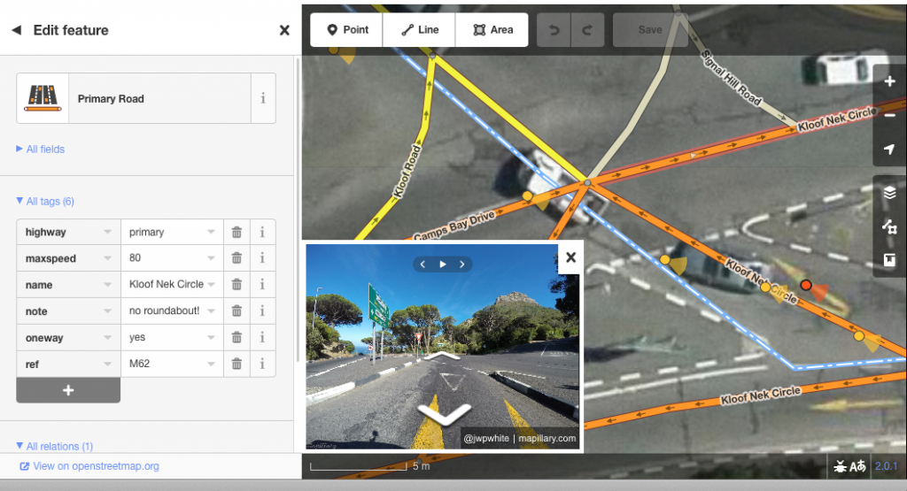 Viewing street-level Mapillary photos within the iD editor, also super hi-res imagery appearing by default in Cape Town