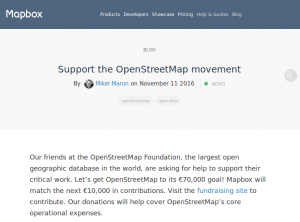Mapbox blog entry announcing the matching donation.