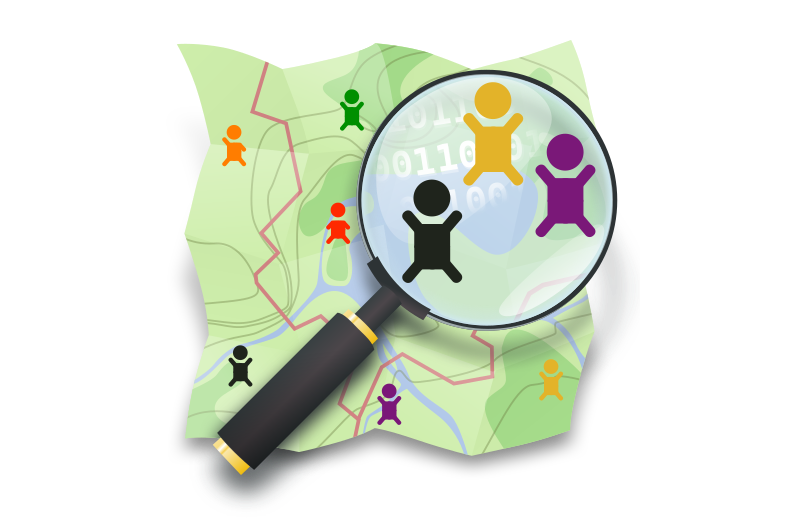 OpenStreetMap logo with magnifying glass, showing stick figures.