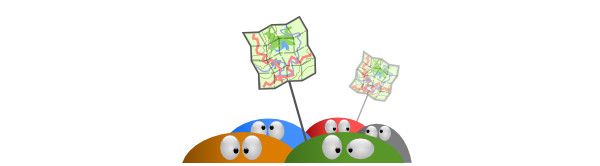 Cute half-blobs with eyes, holding sticks with maps.