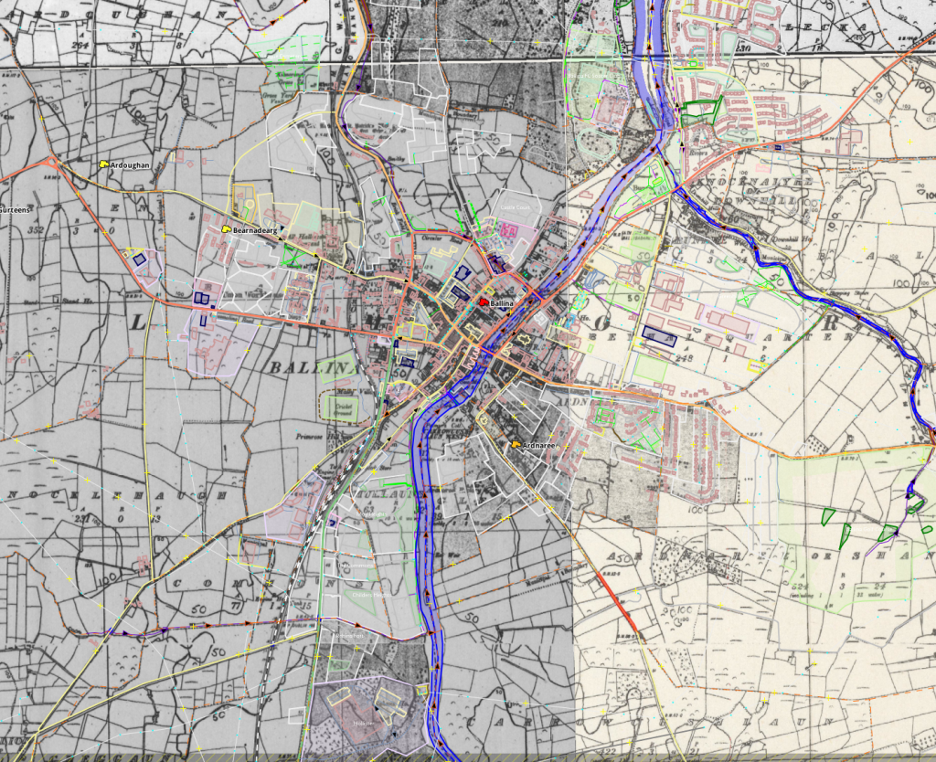 image of historic imagery used for editing modern day OpenStreetMap data