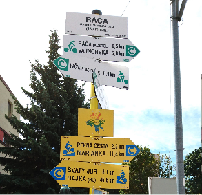 Photograph of a guidepost.