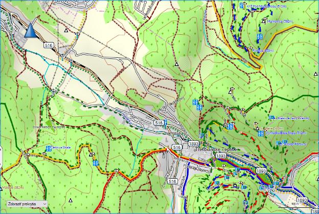 Schermata di una mappa di Freemap per dispositivi Garmin.