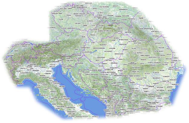 L'estensione attuale delle mappe di Freemap, che comprendono per intero Repubblica Ceca, Slovacchia, Ungheria, Austria, Svizzera, Slovenia, Croazia, Bosnia ed Erzegovina, Montenegro, Kosovo, Bulgaria, Romania e Macedonia, in aggiunta all'Italia centrale e settentrionale, più parti meridionali di Francia, Germania, Polonia e Moldavia, e settentrionali di Grecia ed Albania ai confini con le altre nazioni menzionate.