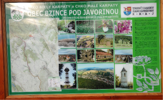 Photo of an information board, which shows a map, photos and text.