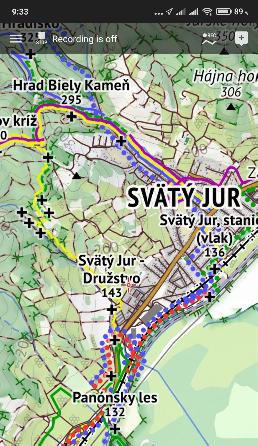 Schermata di una mappa di Freemap all'interno di un'applicazione per Android.